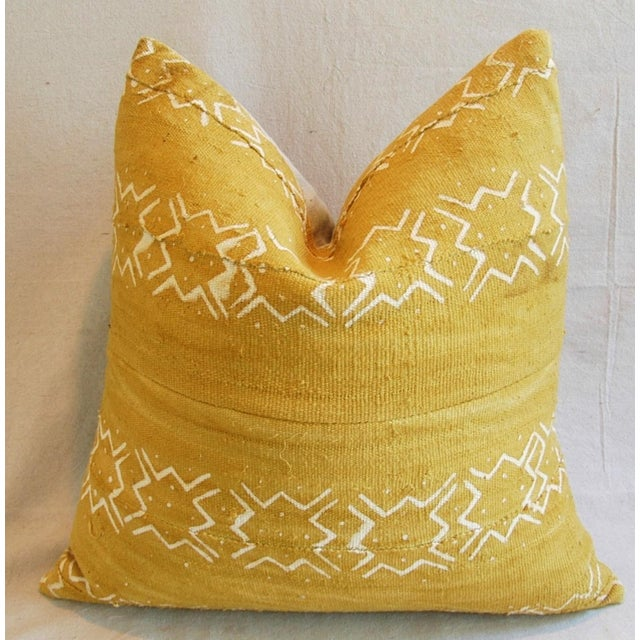 Handwoven Gold & Cream Tribal Feather & Down Pillow - Image 2 of 5