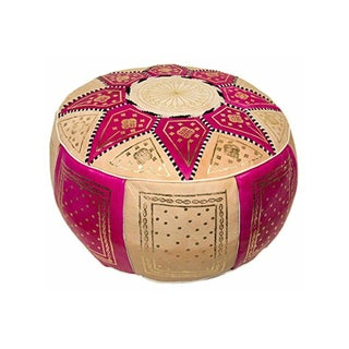 Fes Fuchsia Leather Pouf For Sale