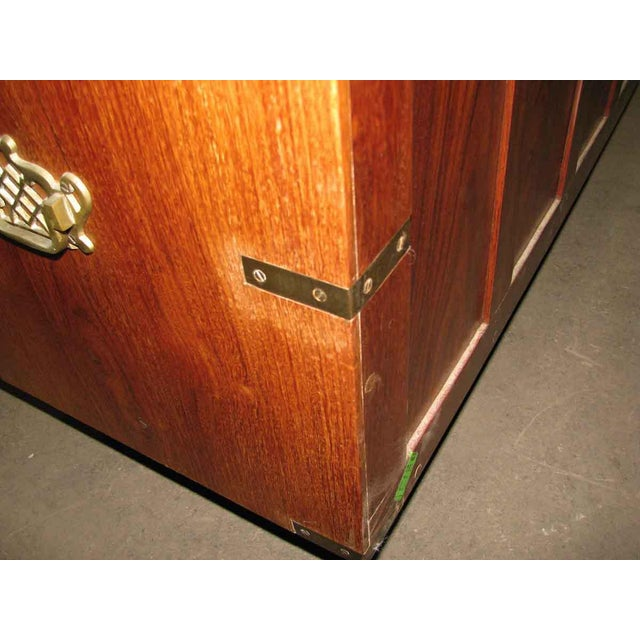 Brown Wood Inlaid Brass Chest of Drawers For Sale - Image 8 of 8