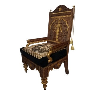 20th Century Vintage Contemporary Asian Burmese Lion Arm Chair For Sale