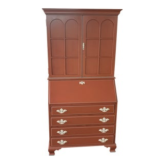 Hand Painted Red Blind Door Chippendale Secretary Desk For Sale