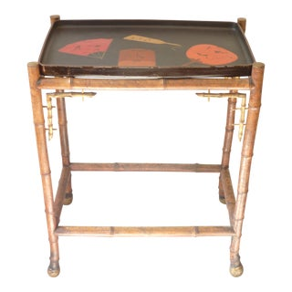 Japanese Tray on Bamboo Stand For Sale