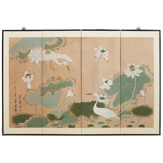 Japanese Cranes and Lotus Blossom Byobu Screen For Sale