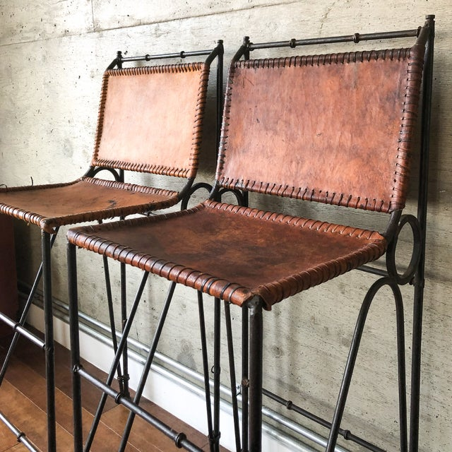 1970s 1970s Vintage Iron & Leather Brutalist Bar Stools by Ilana Goor (2 Available) For Sale - Image 5 of 7