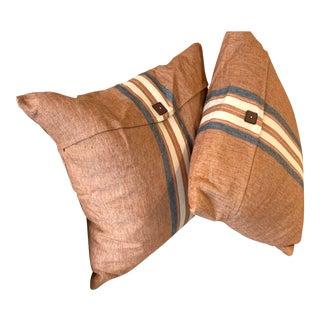 Brown Linen Throw Pillows- A Pair For Sale