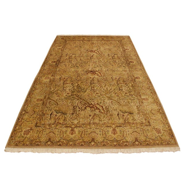 Pak Persian Griselda Tan/Gold Hand-Knotted Rug -4'2 X 6'2 For Sale - Image 9 of 9