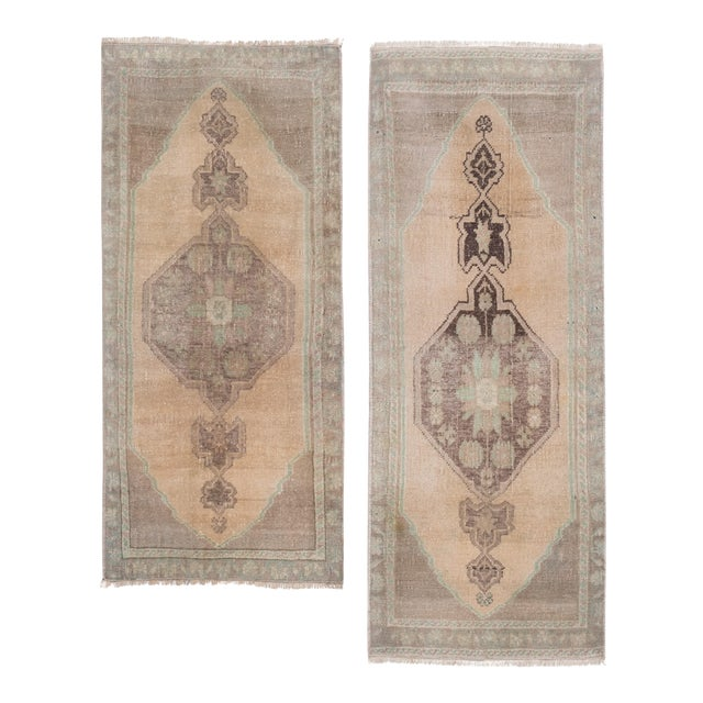"""Distressed Small Turkish Oushak Rug - a Pair 19"""" X 42"""" For Sale"""