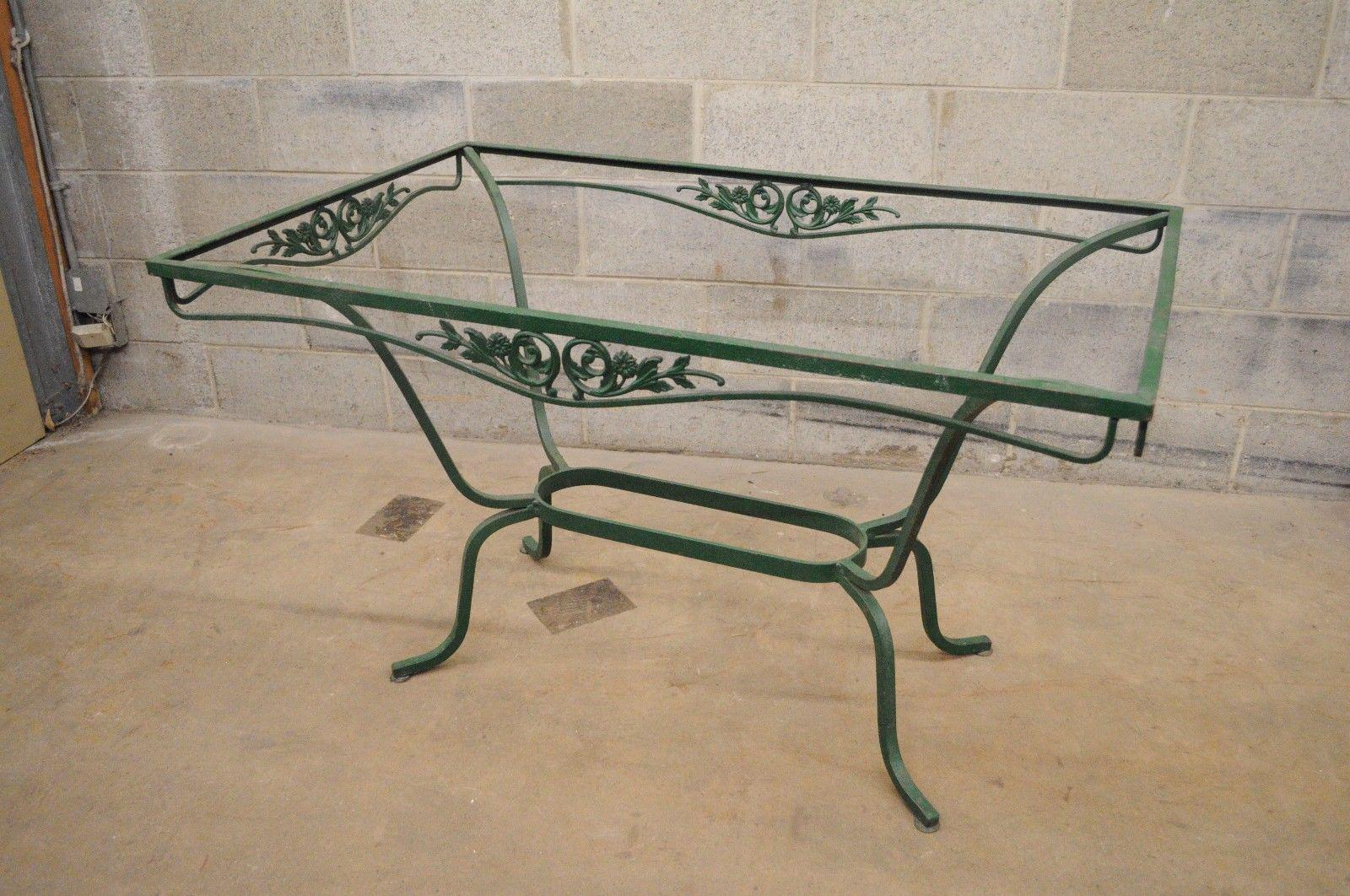 Vintage Salterini Wrought Iron Patio Dining Set Table 4 Chairs Garden  Furniture For Sale   Image