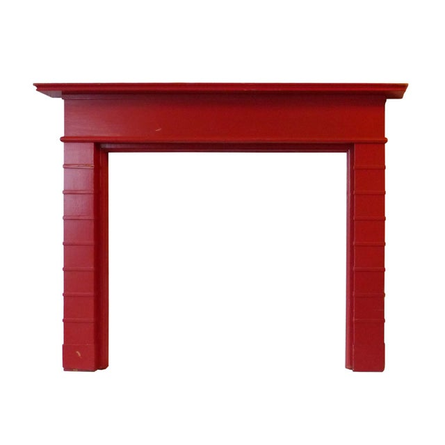 Mid-Century Modern Mid Century Modern Red Painted Wooden Mantel For Sale - Image 3 of 3