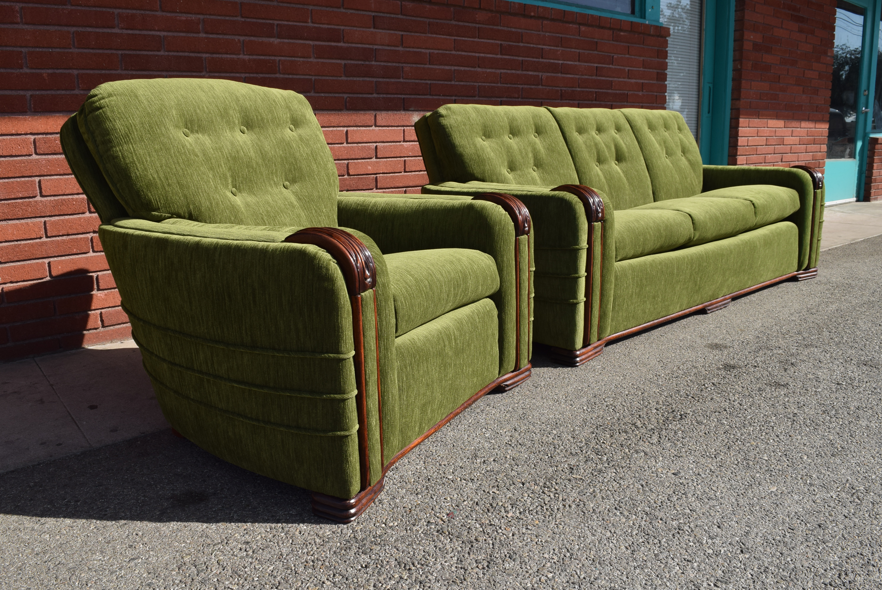 Vintage Art Deco Modern Green Velvet Sofa U0026 Chair   A Pair   Image 3 Of