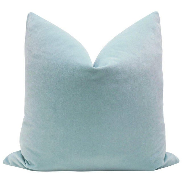 Natural Antelope Bolster and Spa Blue Velvet Pillows - Set of 4 - Image 2 of 9