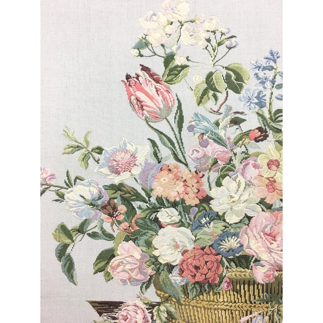 Vintage English Handmade Tapestry Floral Still Life For Sale In New York - Image 6 of 7