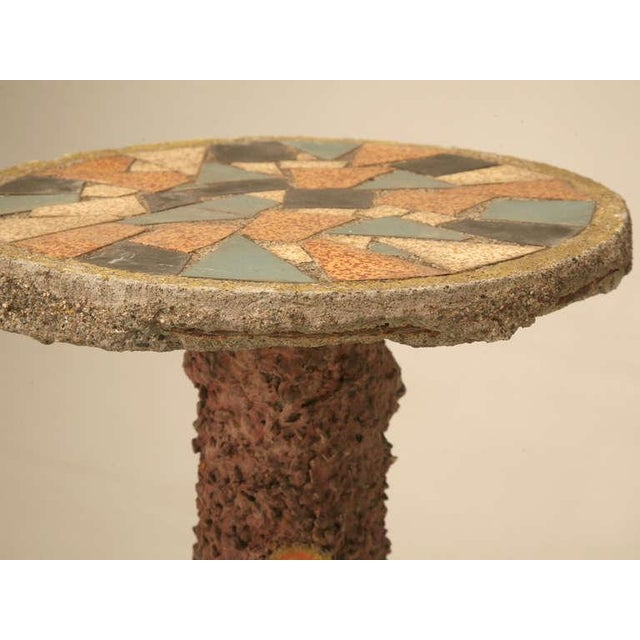Circa 1920 French Faux Bois Mosaic Top Garden Pedestal For Sale - Image 9 of 10