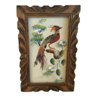 Vintage Mid-Century Feather Art Bird Collage For Sale