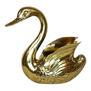 Oversized Brass Swan Cachepot For Sale