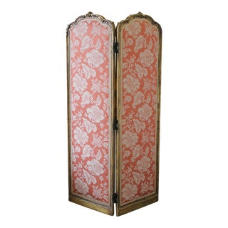 Early 20th Century Giltwood Two-Panel Dressing Screen in Scalamandre Silk For Sale