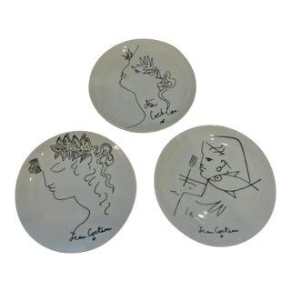 Jean Cocteau Collector Plates Limoges Paris Trio Porcelain Plates C. 1958 - Set of 3 For Sale
