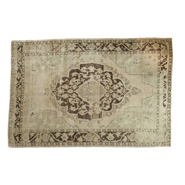 "Vintage Distressed Oushak Carpet - 6'10"" x 10'2"" For Sale"