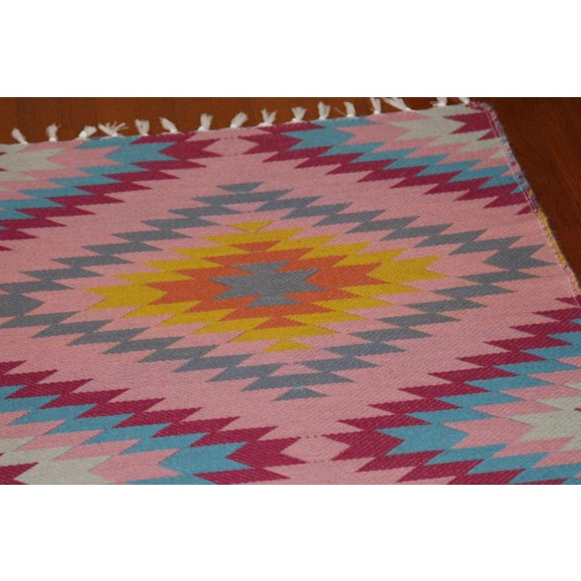 "Reversible Flat Weave Diamond Wool Kilim Rug - 5'3"" x 7'6"" - Image 4 of 8"