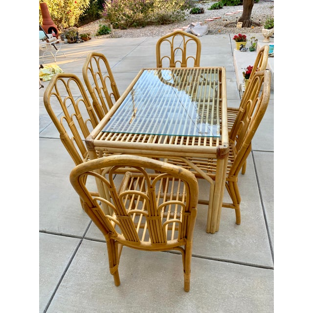 1970s Boho Chic Bamboo Dining Set of Six Chairs For Sale - Image 10 of 13