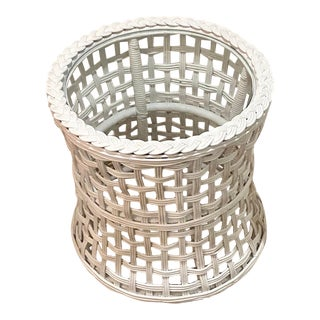 Vintage Round Braided Wicker and Glass Basket Weave braidedTable For Sale