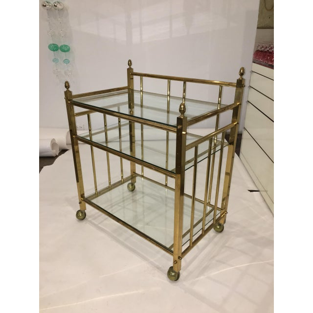 Three-Tier Brass and Glass Bar Cart, Tea Trolley &/or Service Cart - Image 2 of 6