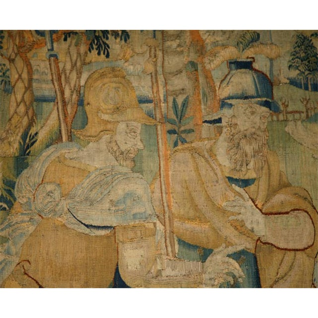 Baroque 17th Century Flemish Tapestry of Soldiers and Ladies Outside of a Walled City For Sale - Image 3 of 8