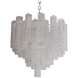 "Venini ""Tronchi"" 40 Crystal Chandelier For Sale"