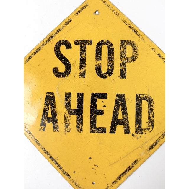 Vintage Stop Ahead Yellow Street Sign For Sale - Image 5 of 5