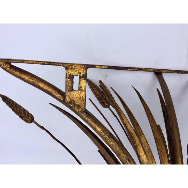 Metal Vintage Gilded Metal Sheaf of Wheat Console Table Base For Sale - Image 7 of 13