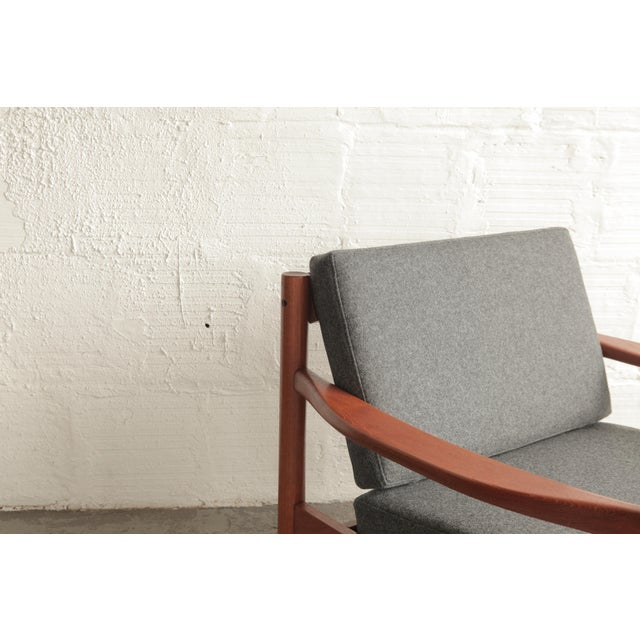 Vintage Mid Century Grey Lounge Chair For Sale - Image 4 of 7