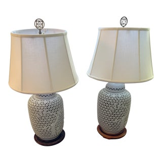 Asian Modern Blanc De Chine Pierced Porcelain Lamps - a Pair For Sale