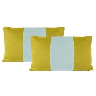 "12""x18"" Chartreuse and Spa Blue Velvet Lumbar Pillows - a Pair For Sale"