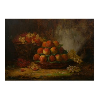 """Still-Life of Grapes and Peaches"" Antique French Oil Painting by Alfred Brunel De Neuville For Sale"
