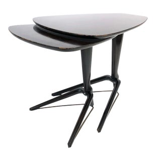 Mid Century Modern Guitar Pick Tripod Nesting Tables For Sale