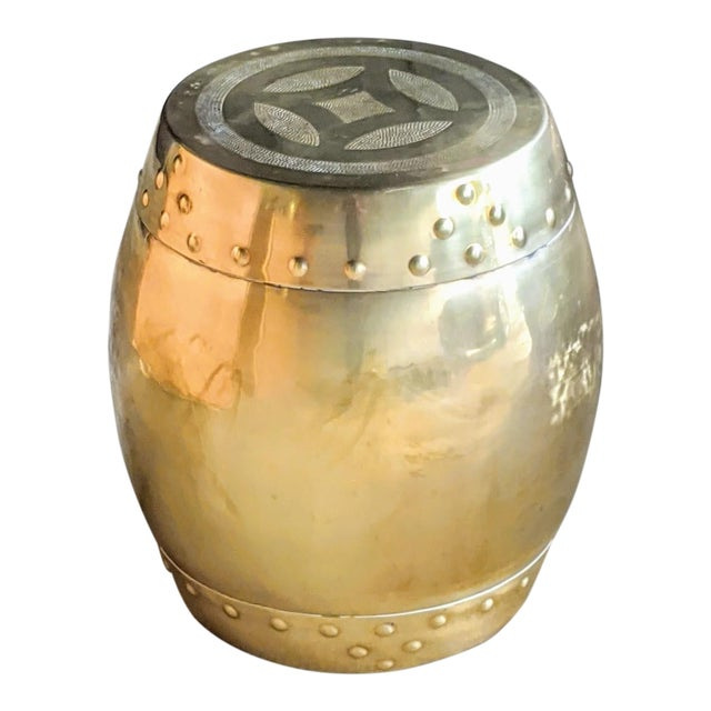 Chinoiserie Brass Drum Stool For Sale