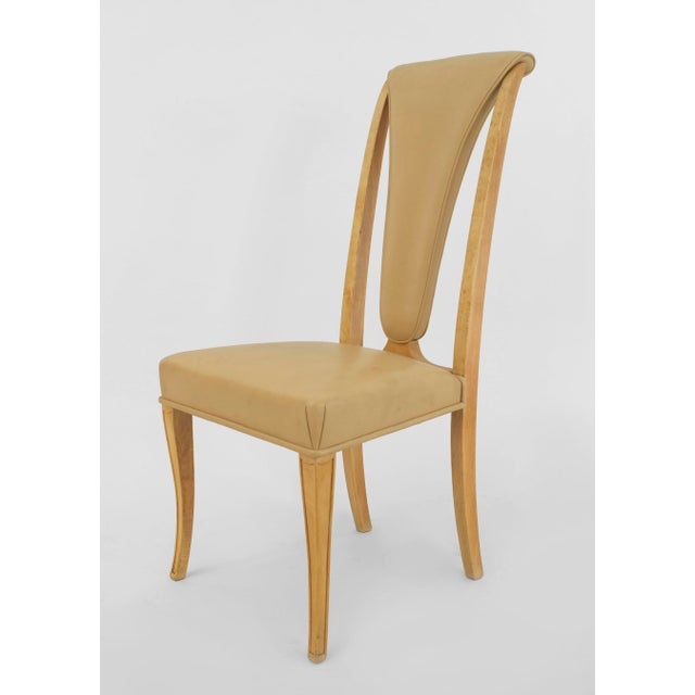 Art Deco English Art Deco Maple High Back Dining Chairs- Set of 8 For Sale - Image 3 of 7