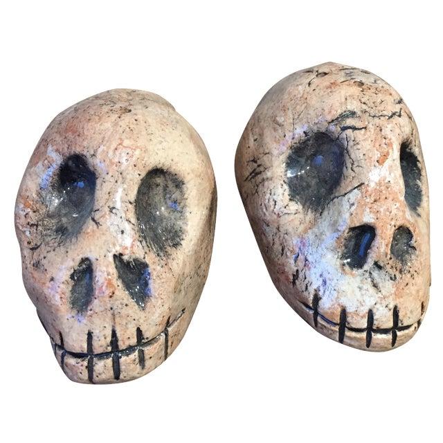 Folk Art Skull Salt & Pepper Shakers - A Pair - Image 1 of 7