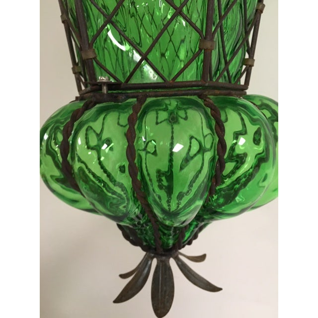 Mid-Century Modern Vintage Murano Baloton Glass Green Single Light Ceiling Pendant For Sale - Image 3 of 8