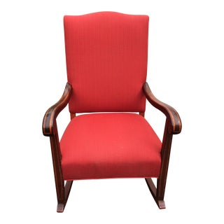 Early 20th Century Americana Red Upholstered Rocking Chair