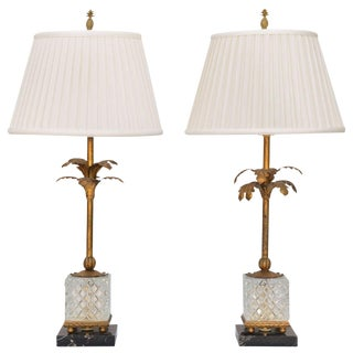 Pair of Gilded Iron Palm Tree Lamps