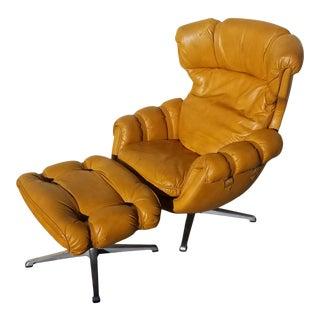 Vintage Overman Ab Lounge Swedish Egg Chair & Ottoman For Sale