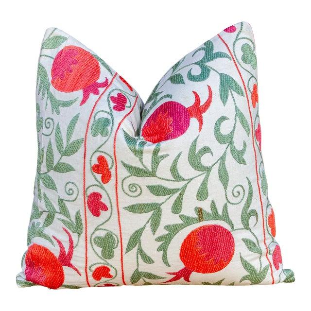 Pomegranate & Green Ivy Uzbek Suzani Pillow For Sale
