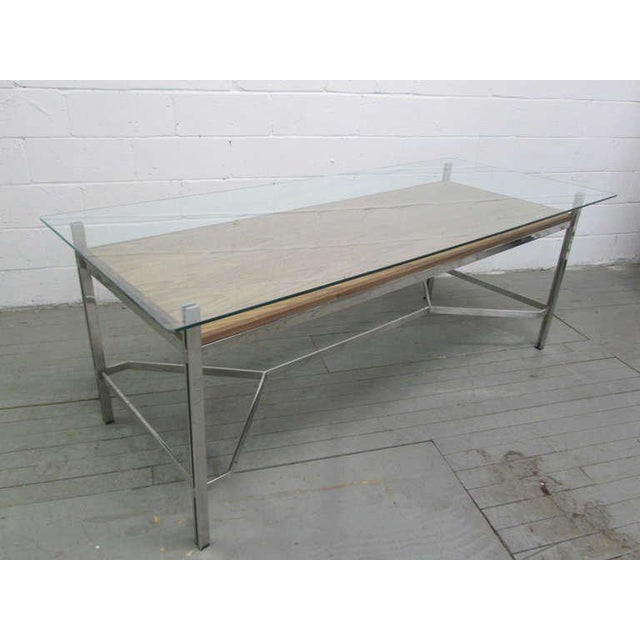 Mid-Century Modern Leon Rosen for Pace Collection Chrome Desk For Sale - Image 3 of 7
