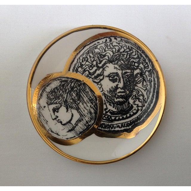 Cardboard Italian Porcelain Gilt Roman Coin Drinks Coasters - Set 6 For Sale - Image 7 of 11