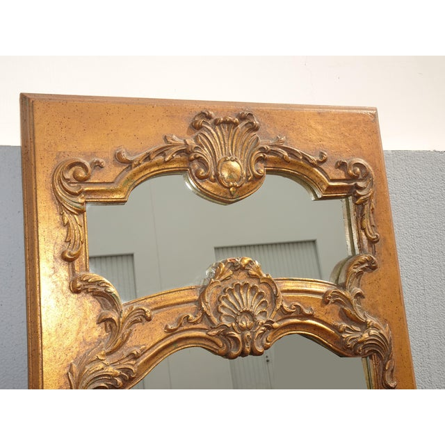 1950s 1950s Vintage French Provincial Gold Wall Mantle Mirror For Sale - Image 5 of 13