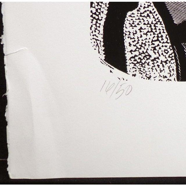 """Susan B. Hale Kemenyffy """"Portrait of Janel : Mirror Away"""" Signed Vintage Linocut Unframed For Sale In Denver - Image 6 of 8"""