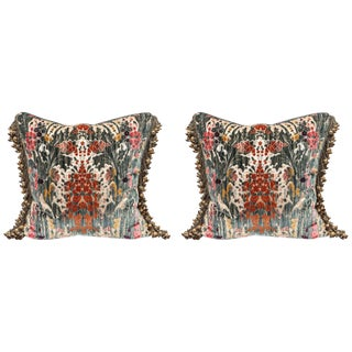 Traditional Silk Velvet Luigi Bevilacqua Pillows - a Pair For Sale