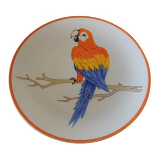 Round Orange and Blue Macaw Parrot Decorative Plate For Sale