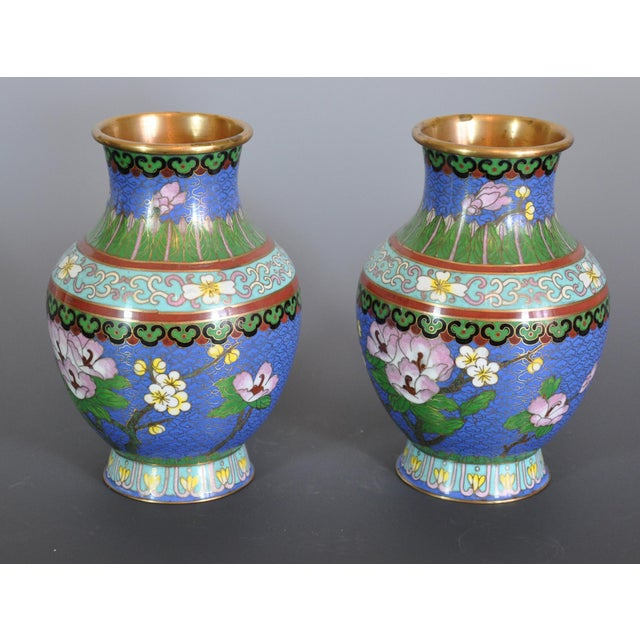 Mid 20th Century Vintage Chinese Cloissone Vases - A Pair For Sale - Image 5 of 7